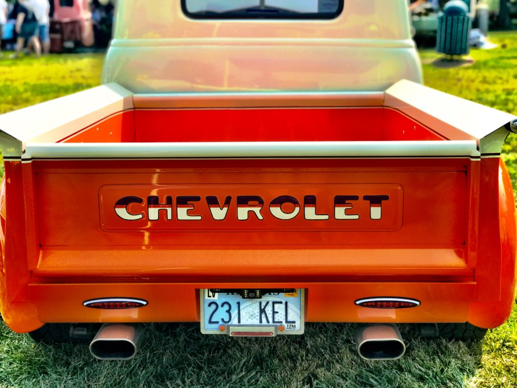 tailgate of an orange truck