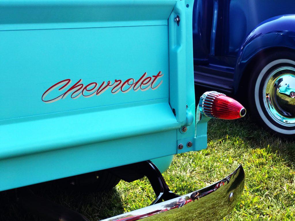 blue chevrolet truck bumper